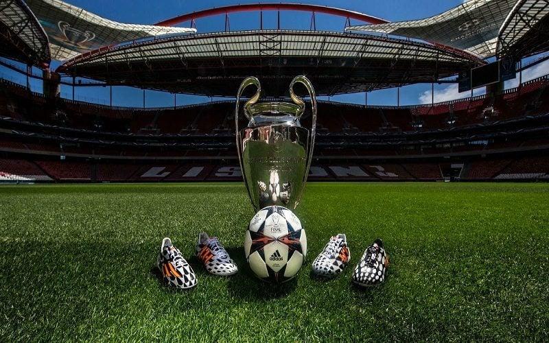 Puchar za zwycięstwo w Lidze Mistrzów stoi na murawie stadionu w Lizbonie